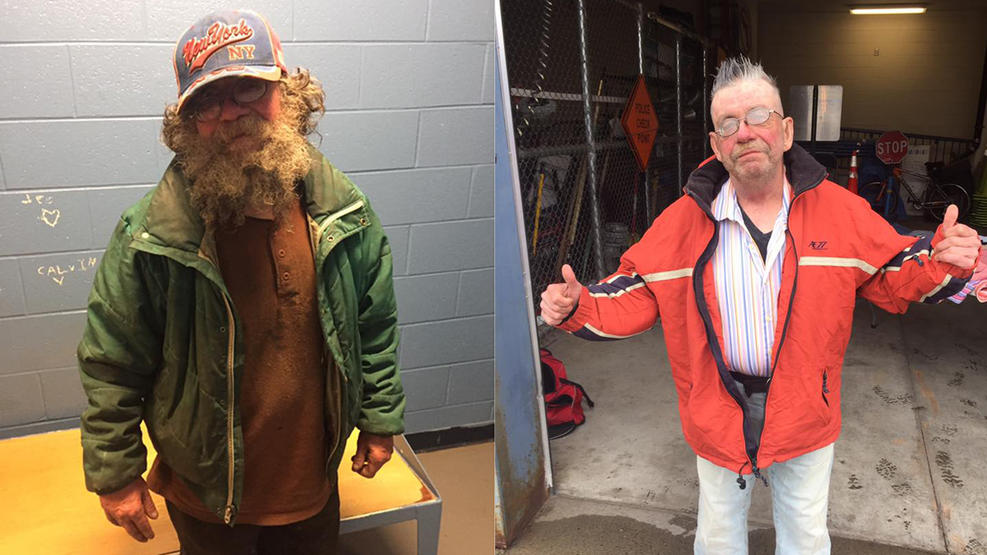 Homeless man gets a complete makeover with a shave and a haircut from kindhearted local cops