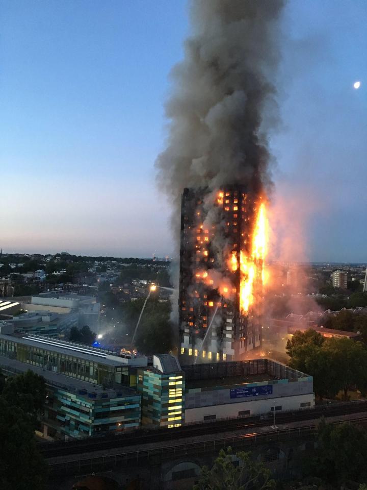 Huge fire engulfs 27-storey tower block in London