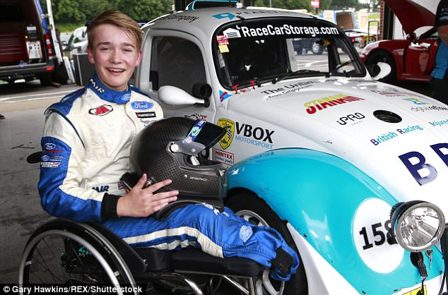 Teenage racing driver who lost both legs in horrific crash is back behind the wheel