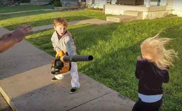 Leaf blower kid  'turned into a super villain'(VIDEO)