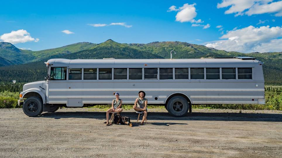 Old school bus converted into loft is traveling from Alaska to South America