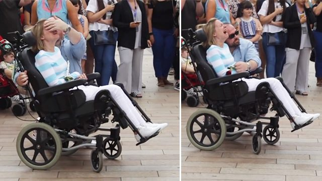Disabled wife overcome with tears of gratitude at husband's 10th-wedding-anniversary surprise