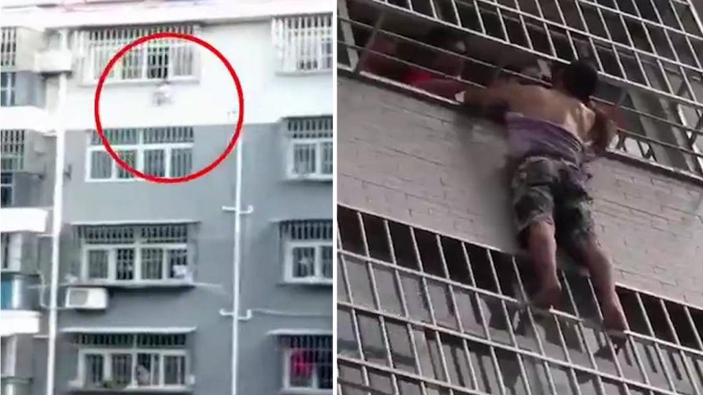 WATCH: Neighbour saves Chinese toddler hanging from fourth floor window