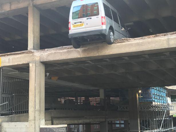 Nottingham car park COLLAPSES leaving vehicles suspended