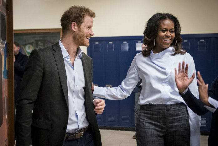 Michelle Obama, Prince Harry Make Surprise Visit to a high school in Chicago
