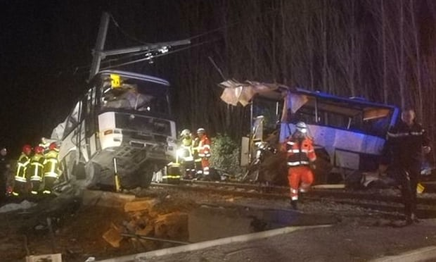 Four schoolchildren killed as train and school bus collide in France