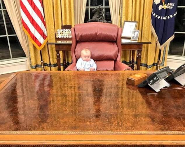 Eric Trump shares adorable snap of his baby son Luke sitting at President's desk