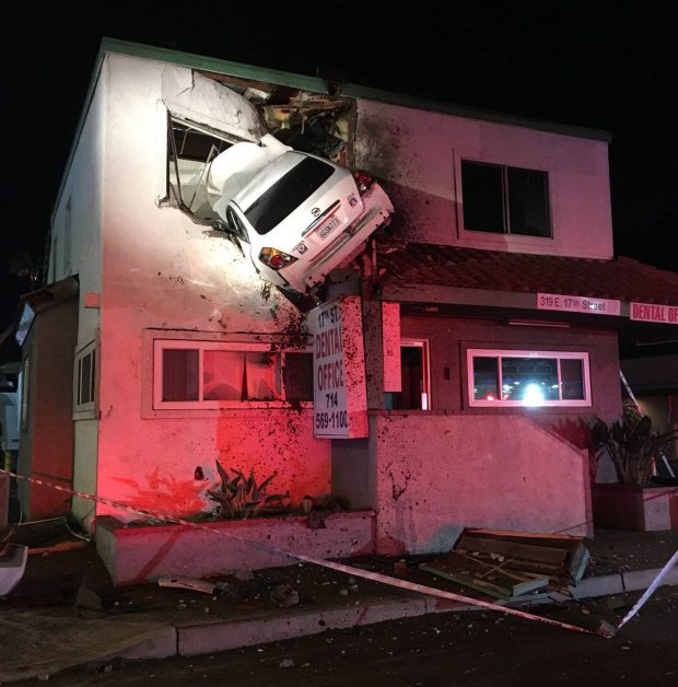 Dramatic video shows moment car goes airborne, flies through second story window