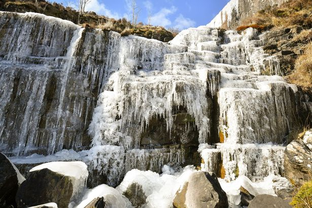 An entire waterfall has frozen solid in the Brecon Beacons