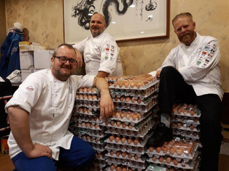 Norwegian Olympic team tries to order 1,500 eggs. Because of a translation error, they get 15,000