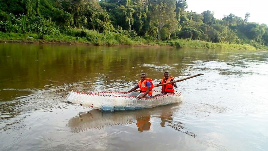 These fishing boats in Cameroon are made from plastic bottles