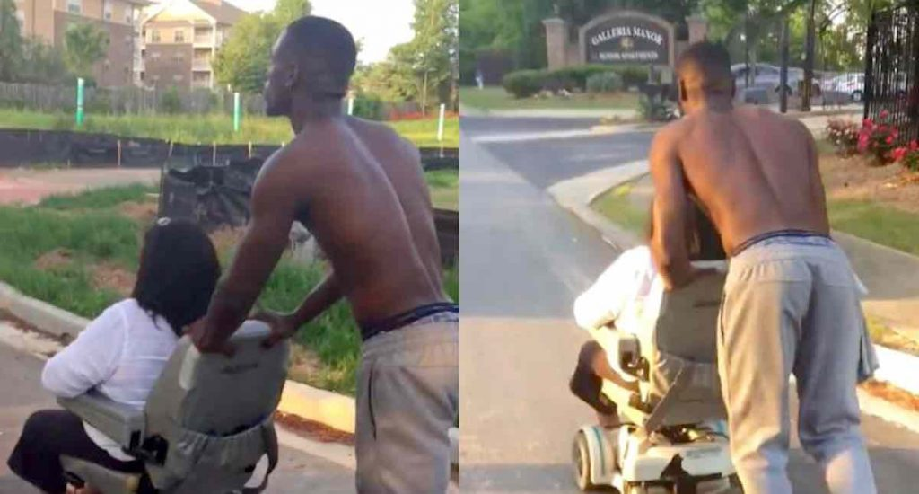 Young man pushes 360 pound woman home after her electric wheelchair runs out of power