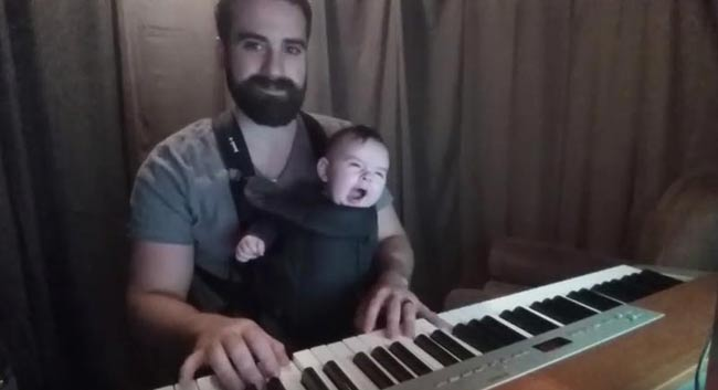 Video shows Baby adorably falling asleep to dad's sweet piano lullaby