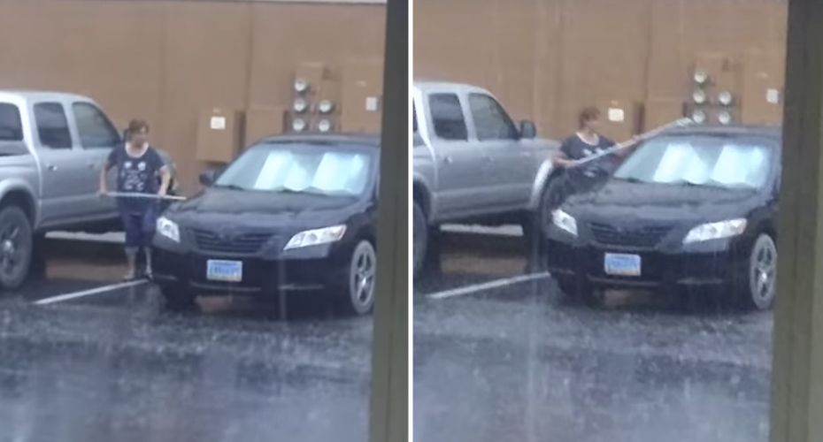 Watch the Woman  Washimg Her Car In The Rain