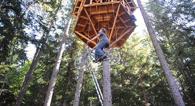 Tree House Has Built-In Bike Elevator