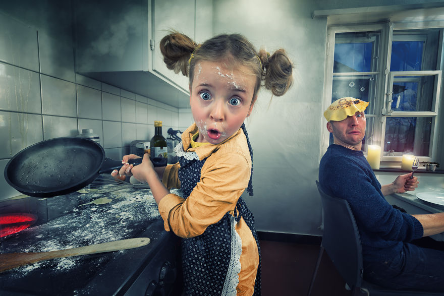 Swiss Photographer Makes Crazy Photo Manipulations With His Three Daughters