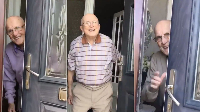 Girl Records 87-Year-Old Grandfather's  Adorable reaction Every Time He Opens the Door