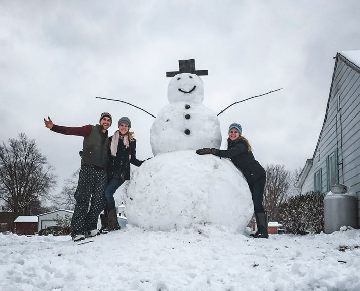 Man and fiancee build 9-foot snowman. Heartless Motorist apparently tries to destroy it