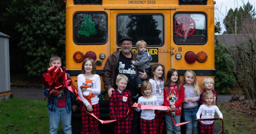 Grandpa buys school bus to take his 10 grandchildren to school