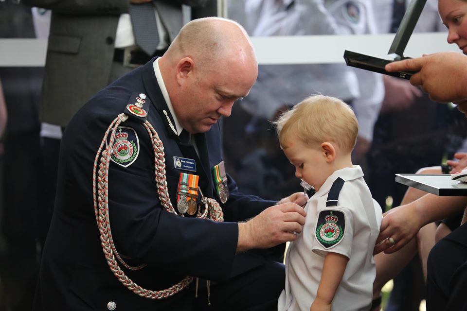 19-month-old son of a firefighter killed while battlingAustralia's bushfiresreceives a medal to honor his father's bravery