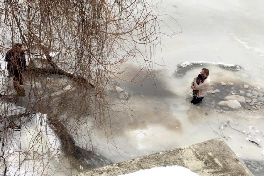 Man Risks His Life to Save Small dog From Frozen Waters