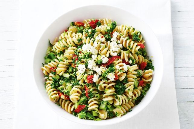 Enjoy this low fat pasta any day of the week, flavoured with a delicious kale pesto.