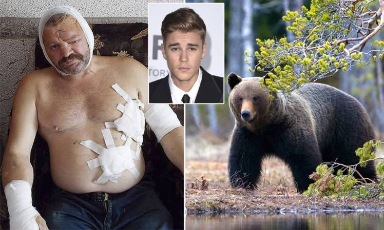 Justin Bieber saved a Russian fisherman from the clutches of a killer bear