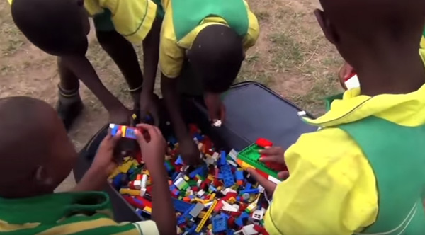 Ugandan Children Play with Legos for the First Time