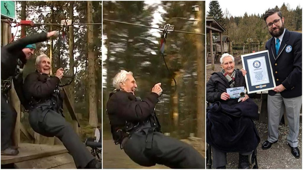 106 year-old man enjoys a record-breaking zip wire