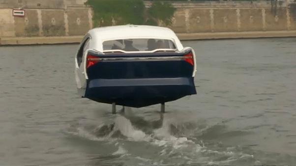 Ground-breaking flying taxi parades on Seine River