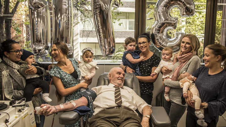 """""""Man With the Golden Arm"""" makes final blood donation at 81 after saving 2.4m babies"""