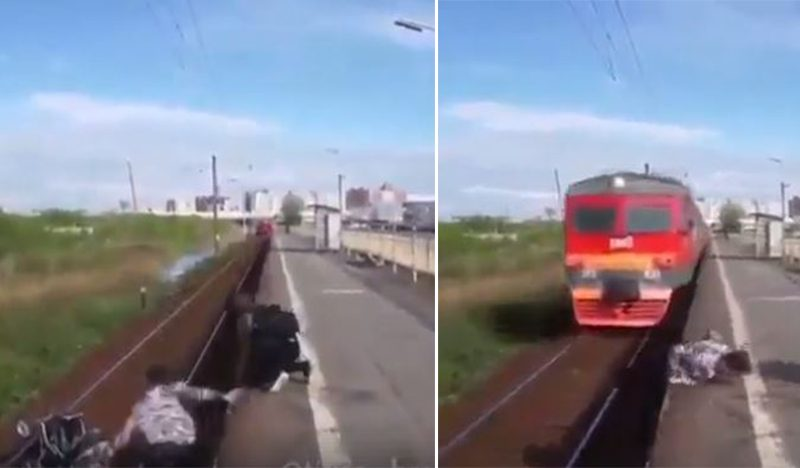Young Man Risks His Life To Save A Baby Who Fell On The Train Tracks