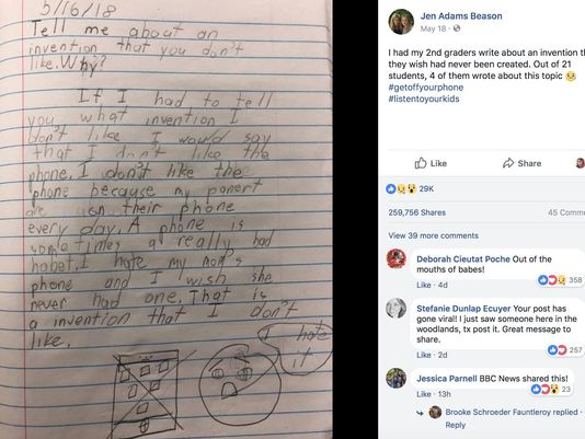"""I hate my mom's phone and I wish she never had one"": 2nd-Grader's Essay Goes Viral"