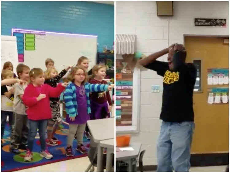 Kindergartners surprise hearing impaired custodian by signing 'Happy Birthday'