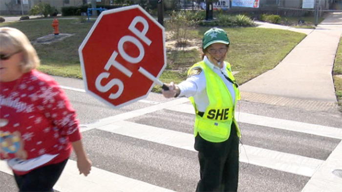 Act of kindness turns an elementary school crossing guard into a local celebrity